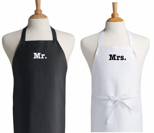 Mr. and Mrs. Apron Set Black & White For The Bride and Groom