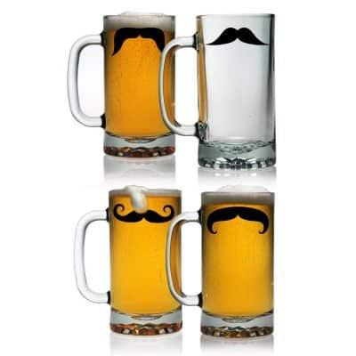 Mustache beer mugs