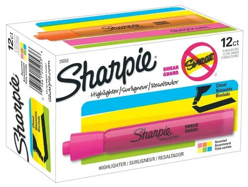 Sharpie Accent Tank-Style Highlighters, 12 Colored Highlighters | Going to College Gifts