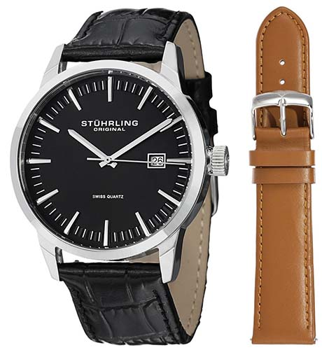 Stuhrling Original Men's 555A.01 Classic Ascot II Swiss Quartz Date Black Dial Strap Set Watch | Going to College Gifts