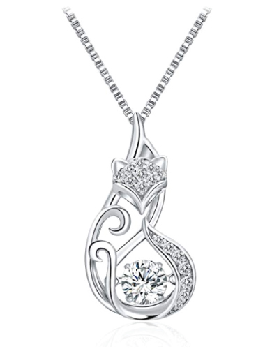 Dancing Diamond Fox Pendant Necklace