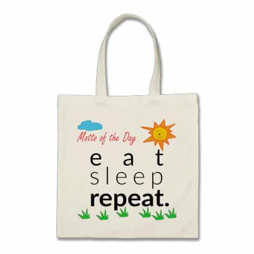 Eat Sleep Repeat Tote Bag. Retirement Gifts