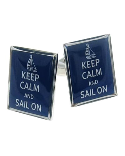 Keep Calm And Sail On Cufflinks | Nautical Gifts