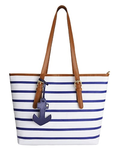 Navy Stripes Anchor Shoulder Bag | Nautical Gifts