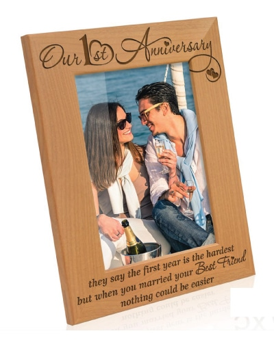 Kate Posh Our First Anniversary Picture Frame - Paper Anniversary Gift for Him