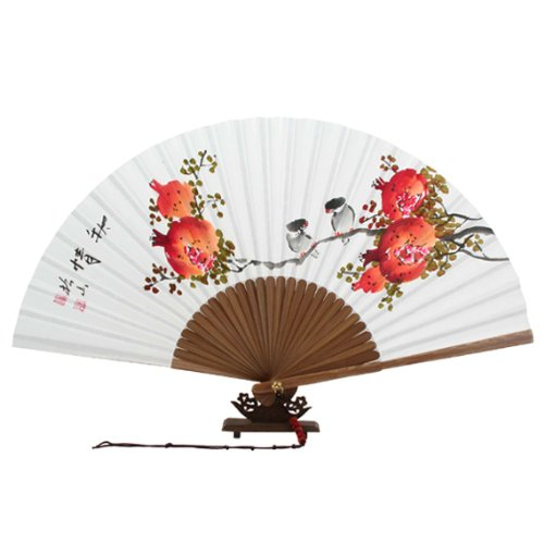 Red Pomegranate and Bird Painting Decorative Fan | Paper anniversary gift ideas for her