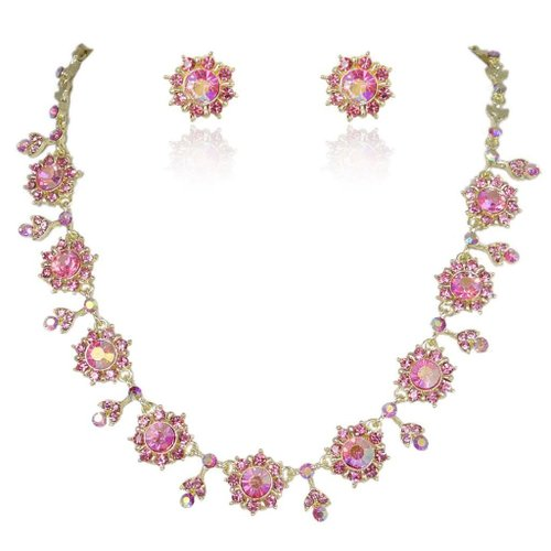Gold-Tone Flower Snowflake Necklace Earrings Set Pink Austrian Crystal Tourmaline Color Birthstone