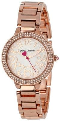 Betsey Johnson Women Analog Rose Gold Bracelet Watch