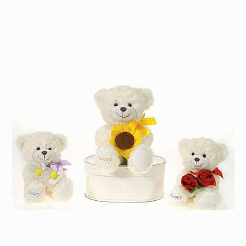 Creme Color Sitting Bear with Bouquet Flower
