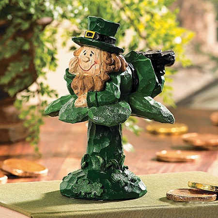 Leprechaun On Shamrock Figurine