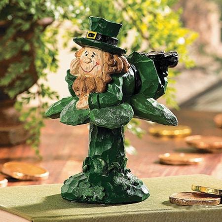 Leprechaun On Shamrock Figurine