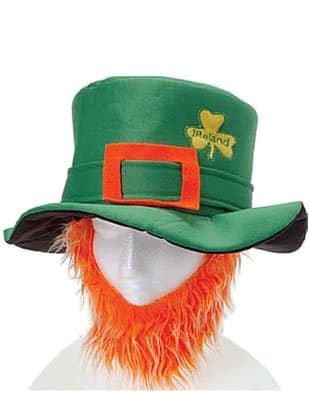 St Patricks Day Costume Leprechaun Hat And Orange Beard - St. Patrick's Day party gear