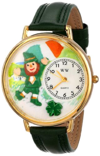 Whimsical Watches Unisex G1224001 St. Patrick's Day Irish Flag Green Leather Watch
