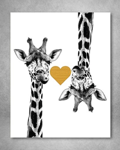 Gold Foil Art Print - Giraffe Love With Gold Foil Heart. Paper gifts for 1st anniversary.