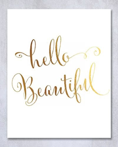 Hello Beautiful Wall Art - Paper Anniversary Gifts for Her