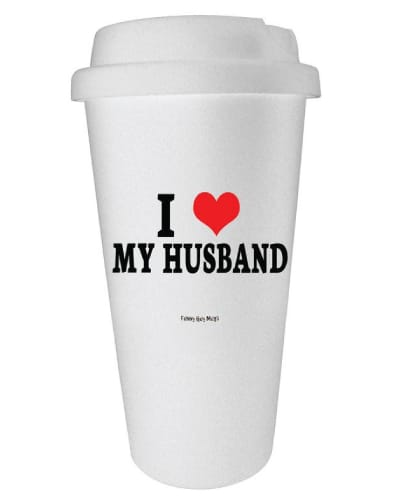 I Heart My Husband Travel Tumbler. First Anniversary Gifts for Him