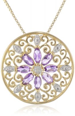 18k Yellow Gold-Plated African Amethyst and Diamond Pendant Necklace