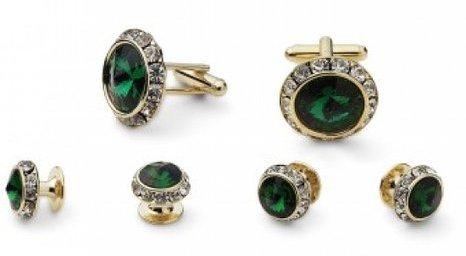 Emerald Tuxedo Cufflinks and Studs Set