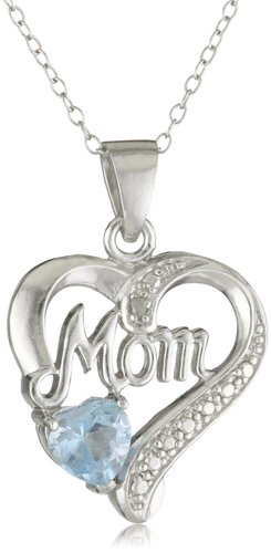 Sterling Silver Diamond-Accent Birthstone Collection Mom Heart Pendant Necklace
