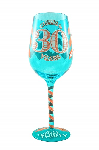 Thirsty Thirty Birthday Wine Glass