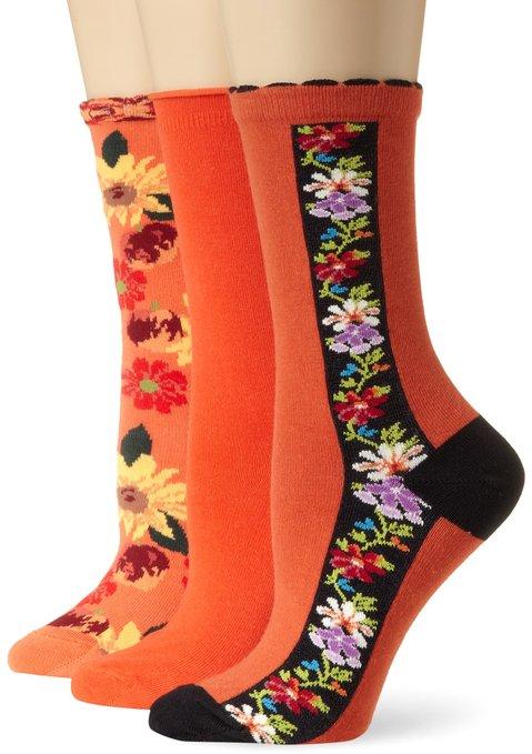 Ozone Women's Citrus Blooms Crew Sock