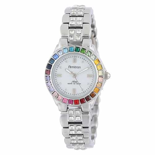 Armitron Women Multi-Color Crystal Accented Silver-Tone Bracelet Watch