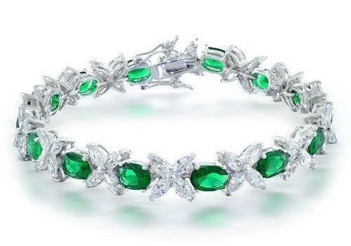 Emerald Flower Marquise Tennis Bracelet