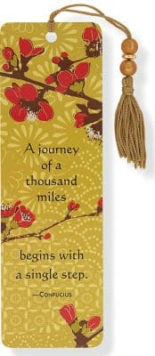 Cherry Blossom Gold Foil Japonica Beaded Bookmark