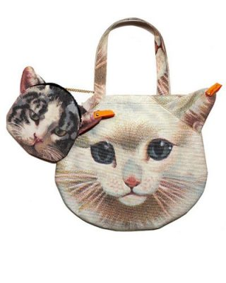 LookbookStore Women Cute 3D Kitty Pussy Cat Head PrintedBag Purse Shoulder Bag Handbag Accompany With Small Bag1