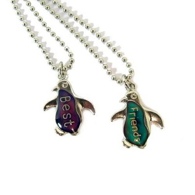 Mood Penguin Best Friends Necklaces on Silver Ball Chains