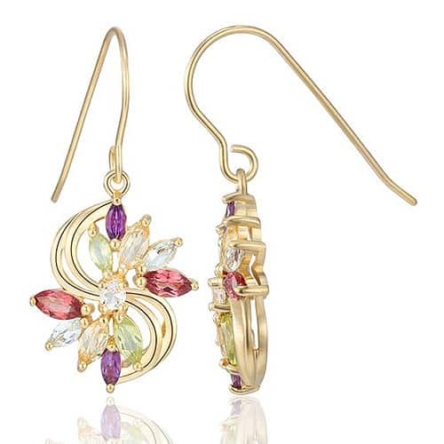 Multi-Gemstone Drop Earrings