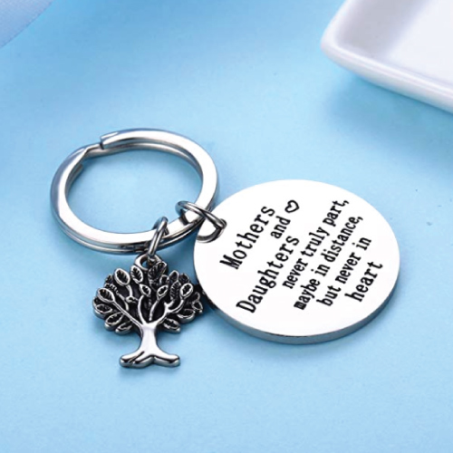 The Love Between Mother and Daughter Heart Charm Keychain
