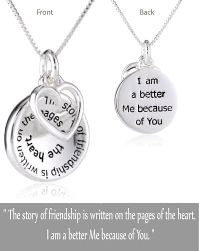 "Sterling Silver ""The Story of Friendship"" Disc and Heart Pendant Necklace"