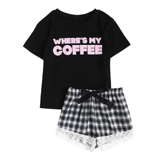Plaid Shorts Pajama Set