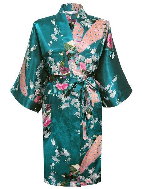 Swhiteme Women's Kimono Robe (Teal)