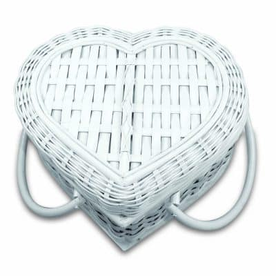 Romantic White Heart Picnic Basket