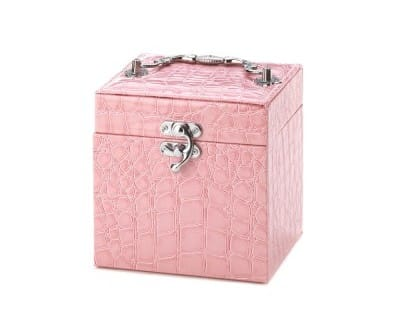 Faux Snakeskin Pink Jewelry Box with Handle