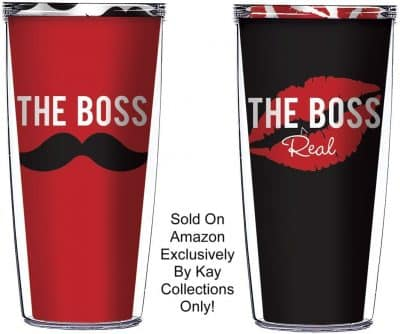 The Boss and The Real Boss 16 Oz Tumblers Great for Anniversary or Wedding Gifts