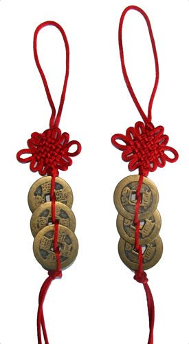 Chinese Red Knot Feng Shui Coins