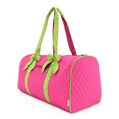 Belvah Large Quilted Duffle Bag with Detachable Ribbons
