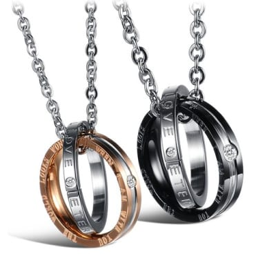 His & Hers Matching Couple Pendant Necklace Set
