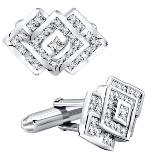 Sterling Silver Cufflinks with Cubic Zirconia Diamond Stones
