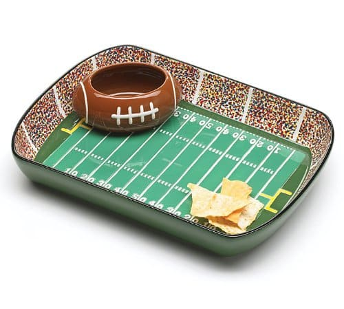 football stadium chip and dip serving set