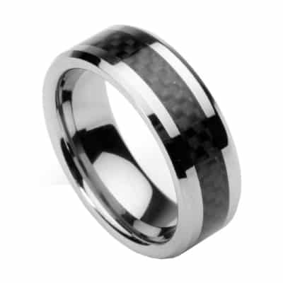 Men's Tungsten Ring with Carbon Fiber Inlay (Sizes 7 - 12)