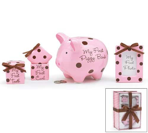 4 Piece Baby Girl Gift Set With Piggy Bank