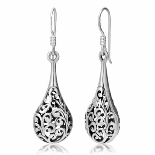 Sterling Silver Bali Inspired Filigree Puffed Teardrop Dangle Hook Earrings