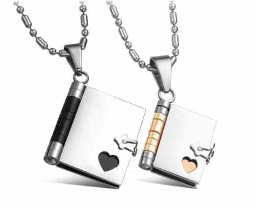 "His & Her ""Love Story"" Book Pendants Necklace Set"