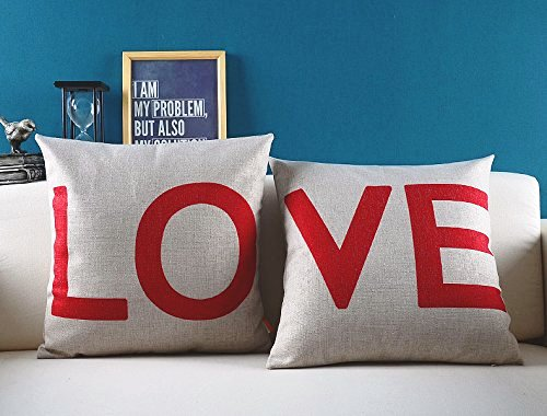Love Cotton Linen Decorative Couple Pillow Cover