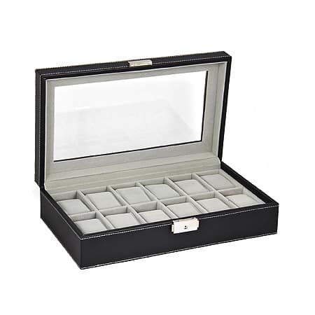 Black Leather Display Glass Top Jewelry Case Organizer