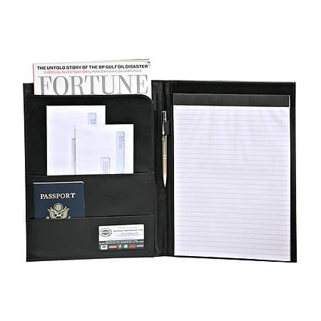 Deluxe Black Writers Padfolio by Bags For Less